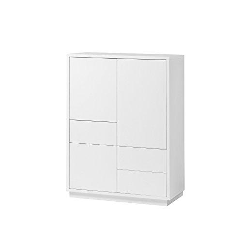 Highboard Anrichte Kommode Weiß 3 Türen 3 Schubladen Push-to-open 110x80x38 cm