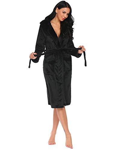 Damen Doppel Wrap (Hotouch Damen Bademantel Fleece Kapuzenmantel Plüsch Kimono Bademantel mit Taschen - Schwarz - X-Large)