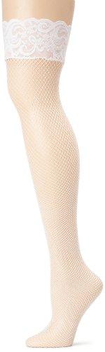 Leg Avenue - Stricklose Lycra-Netzstrümpfe - 9035, Farbe:Weiss;Groesse:Plus (Leg Kostüme Größentabelle Avenue)