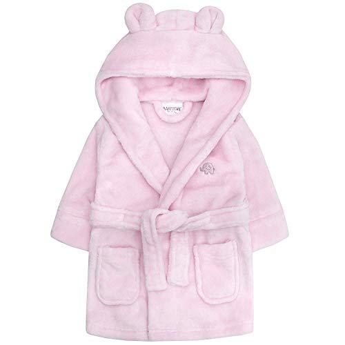 Baby Jungen & Mädchen Unisex Bademantel (Altersstufen 6-24 Monate) Weiches Plüsch Flanell Fleece mit Kapuze Bademantel - Rosa, 80-86
