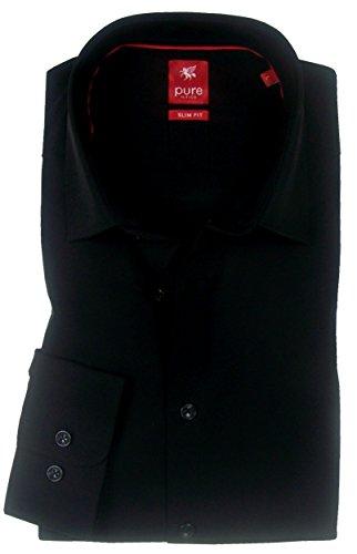 PURE Slim Fit Hemd Langarm New Kent Kragen Stretch schwarz Größe S