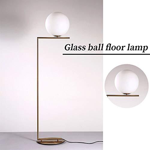 WZJJ Moderne Stehlampe, zeitgenössische Moderne satinierte Glaskugel-Lampe hohe Stehlampe für Schlafzimmerwohnzimmer aa,30cm Aa-lampen
