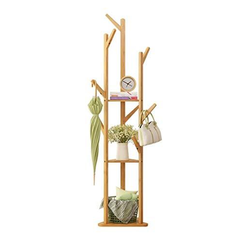 LYN-MEMORY Garderobenständer, 170CM Bambus-Baum-Aufbewahrungsregale und Haken Stehen Rack, Kleidungsstück Kleidung tragbare Kleiderbügel, freistehende Eingang (Color : Wood Color) (Schuh-baum Rack)