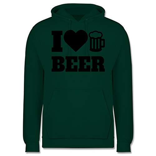 Shirtracer Oktoberfest Herren - I Love Beer - schwarz - 3XL - Dunkelgrün - JH001 - Herren Hoodie - Bier Hoodie-beutel