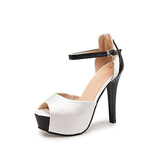 MENGLTX High Heels Sandalen Süße Neue Große Größe 32-48 Sandalen Sommer Hochzeit Frauen Schuhe Mode High Heels Schuhe Frau Party Dance Pumps 4 Weiß -