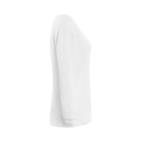 YACOPO Damen Herbst und Winter arbeiten lose mit langen Ärmeln V-Ausschnitt-PulloverSexy Pullover mit V-Ausschnitt Pulli tollen Farben - 12 Farben und 4 Größen Weiß