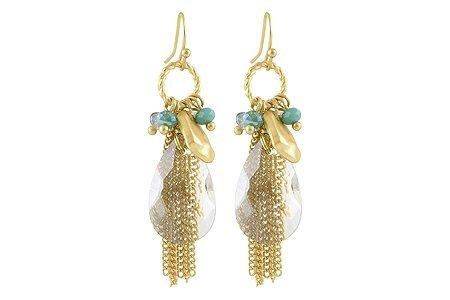 34818Lizas orecchini oro beige turchese