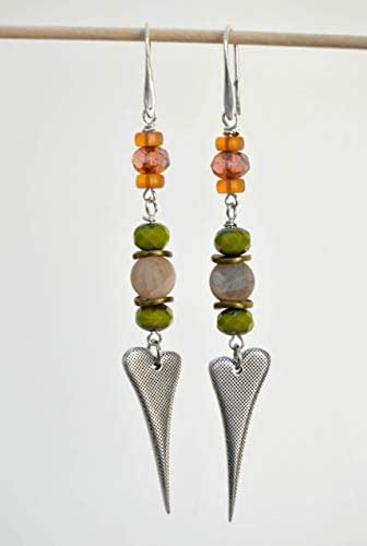 Orecchini lunghi con pendenti in argento fatti a mano, regali per le donna