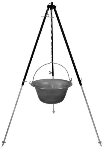 Grillplanet Set Gulaschkessel mit Dreibein 130 cm (10 Liter Eisen original ungarischer Gulaschtopf Feuertopf Feuerkessel Kochkessel Suppentopf Kesselgulasch Topf)