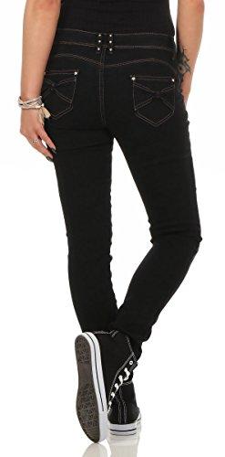 10205 Fashion4Young Damen Röhrenhose Treggings Stretch-Hose Skinny Slimline Damenhose Schwarz