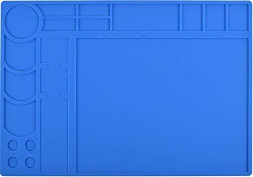 LötmattePad 500C HitzebeständigeSilikonmatte Arbeitsschweißung Rutschfeste Schreibtisch-Reparaturmatte für Lötkolben BGA-Reparaturstation Direktkontakt Temperaturbereich 932FLötmontage oder Elek (Blau)