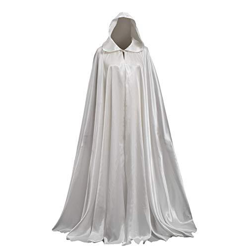 GRACEART Damen Cape Umhang Mit Kapuze Mittelalter Mantel Lang Halloween kostüm Für Hochzeit Braut Abendkleid Brautkleid (Elfenbein)