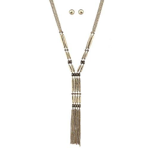 LUX Zubehör brüniert Metall Bar Fransen Statement Halskette passende Ohrringe - Brüniert Metall