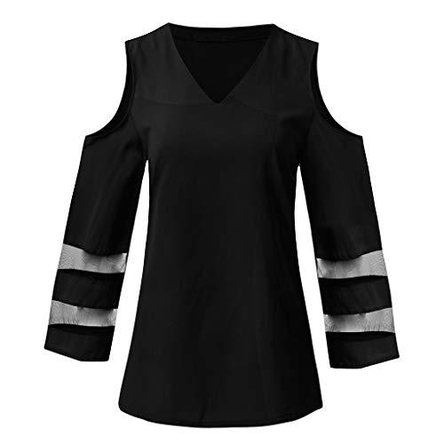 TOPSELD Top Damen, Frauen Knopf V-Ausschnitt, Netzeinsatz Bluse 3/4 Bell HüLsen Lose Spitze Hemden (Buck Bell V)