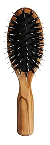 Lilywoods Brosse à cheveux de voyage avec coussin pneumatique, soie pure de sanglier et tiges en plastique