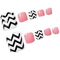 24 unidades creativos onda errónea clavos Strap Corto Artificial falsa Toe Nails Variedad Toe clavos con