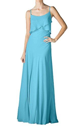Royaldress Pfirsisch Chiffon Spaghetti-traeger U-ausschnitt Brautjungfernkleider Abendkleider Ballkleider Blau