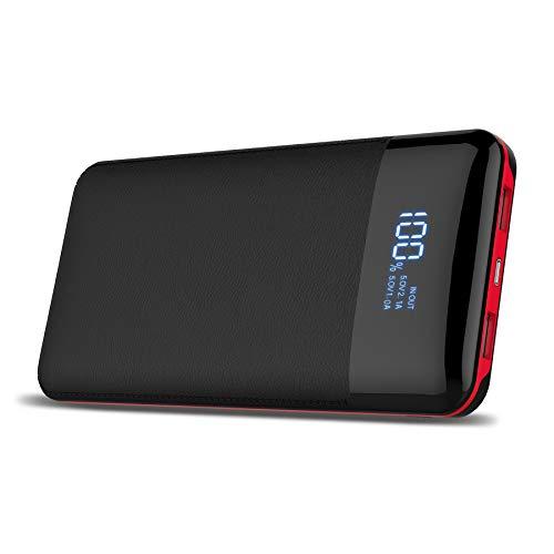 Batería extraíble portátil,Power Bank de 24000mAh con pantalla digital, alta capacidad, batería externa para iPhone X/ 8/ 8Plus, iPad Samsung Galaxy S9/ S8, Tablets y mucho más(Negro)