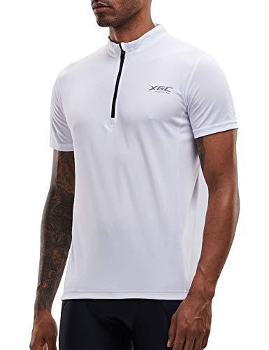 XGC Herren Kurzarm Radtrikot Fahrradtrikot Fahrradbekleidung für Männer mit Elastische Atmungsaktive Schnell Trocknen Stoff 1-2er Packung (White, L) -