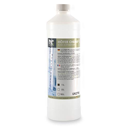 Höfer Chemie 2 x 1 L Essigsäure 60% frisch abgefüllt in handlichen 1L Flaschen zum sofortigen Gebrauch