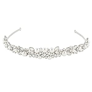 Ever Faith® österreichischen Kristall elegant künstliche Perle Art Deco Braut Haarband Diadem Haarschmuck klar Silber-Ton