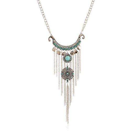LCLrute Halskette Damen Bohemien Zigeuner Stil Türkis Quaste Lange Kette Anhänger Halskette Mode (Zigeuner Zubehör)