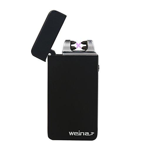 Briquet Double Arc Électrique, WEINAS Briquet USB Classique Tesla Rechargeable à l'Epreuve du Vent - Sans Flamme Sans Gaz Coupe-vent Briquet avec USB Câble - Plus Vite - Forte - Sûr - Boîte Cadeau