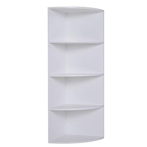HOMCOM Eckregal Standregal Bücherregal Dekoregal Blumenregal Holzregal fächerförmig 4 Fächer Weiß 39,5 x 39,5 x 120 cm