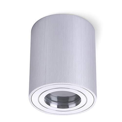 JVS Aufbauleuchte Aufbaustrahler Deckenleuchte Aufputz MILANO IP44 GU10 Fassung 230V rund silber Strahler Deckenlampe Aufbau-lampe Downlight aus Aluminium - ohne Leuchtmittel