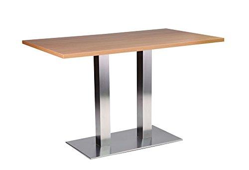 Daniella tavolo da pranzo in acciaio inox-base rettangolare con piano in rovere 70x 120cm