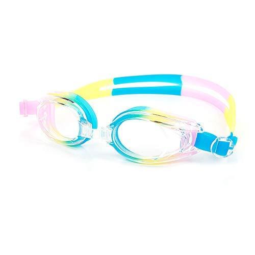 Bxchx Schwimmbrille Unisex Anti - Nebel UV Schutz Schwimmbrille mit Flexible Nasen Brücke Verstellbar Silikon-Kopf Riemen und Schutzetui für Erwachsene Herren & Damen - Blau Gelb, Material: PC + ABS