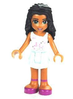 LEGO Friends: seltene Minifigur Chloe mit weissem Top und türkisfarbenem Rock (Emma Minifigur Friends Lego)