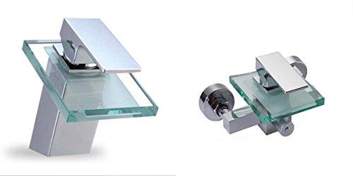Set Glas Wasserfall Einhebelmischer Wannenarmatur und Wasserhahn Waschtisch Chrom | Armatur Badewanne Waschbecken | Einhebel Mischbatterie | Bad Wasserhahn - Chrom Glas Waschtisch