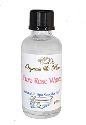 50ML PURE Organique Eau de rose toner. vapeur distillée en verre bouteille