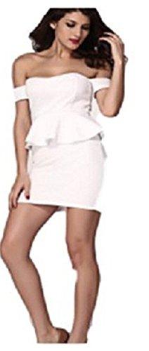HarrowandSmith British Fashion Store - Robe - Peplum - Sans Manche - Femme Noir noir 36,38 Blanc