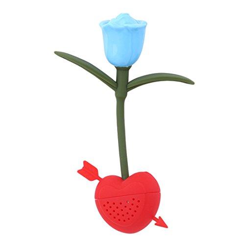 VWH Rose Fleur en Forme Thé Cuillerée à Thé Filtrer du Sachet de Thé Diffuseur Passoire Silicone Infuseur Filtre Café (Bleu)