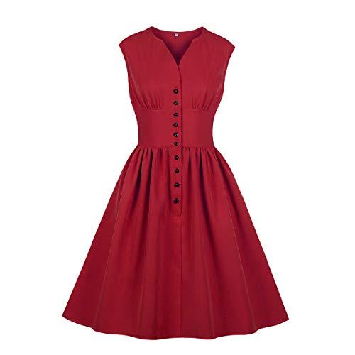 Wellwits Damen Teekleid mit geteiltem Ausschnitt, Blumenknöpfe, 1940er Jahre, Vintage-Stil Gr. 34-36, reines rot - Dress Fit-n-flare