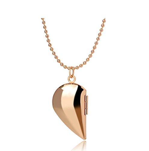 Beydodo Bilder Medaillon zum öffnen mit Kette Halbes Herz mit Anhänger Halskette Rosegold Herren Damen (öffnen Mit Diamanten Sie Herz-halskette)
