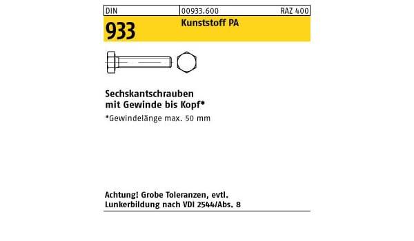 Sechskantschrauben mit Gewinde bis Kopf DIN 933 Kunststoff Polyamid PA