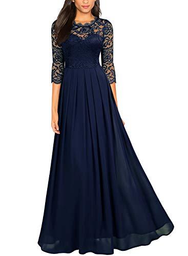 Miusol Damen Elegant Halbarm Rundhals Vintage Spitzenkleid Hochzeit Chiffon Faltenrock Langes Kleid Navy Blau Gr.S - Stretch-spitze-lange Kleid
