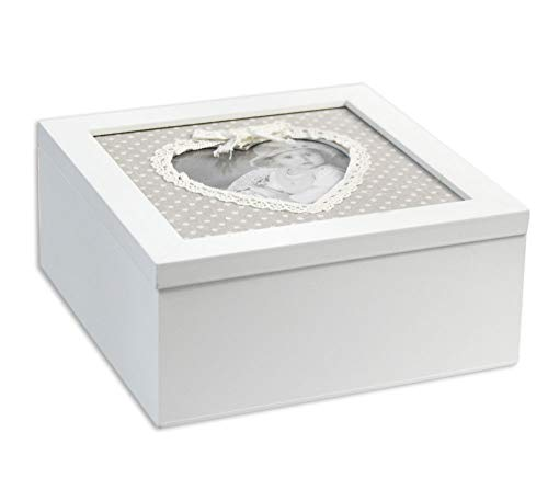 Vetrineinrete® scatola portagioie in legno bianco con cornice portafoto a cuore cofanetto per gioielli organizer minuterie contenitore portaoggetti shabby chic idea regalo 45542 m36