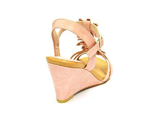 SHT27 * Sandales Nu-Pieds à Talon Compensé avec Multi-Brides Ornées de 3 Fleurs Strass - Mode Femme Rose
