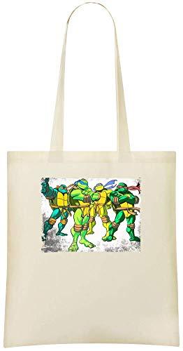 Grunge Teenage Mutant Ninja Turtles Illustration TMNT Custom Printed Shopping Grocery Tote Bag 100% Soft Cotton Eco-Friendly & Stylish Handbag For Everyday Use Custom Shoulder Bags