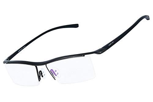 Der Geschmack von zu Hause Mens Pure Titanium Semi-randlose Brillen Business Optische Gläser Rahmen Klare Linse (Color : Gunmetal)