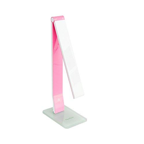 Noeloy® Lámpara de escritorio LED con puertos USB cargador 5W,Flexo plegable,3 Niveles de Luz,Control táctil,Pefecto para Leer, Estudiar, Trabajar, Color Rosa