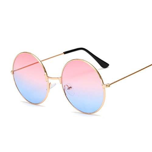 Kjwsbb Kleine runde SonnenbrilleFrauenMarkeShadesBlack Metal Sonnenbrille für Frauen