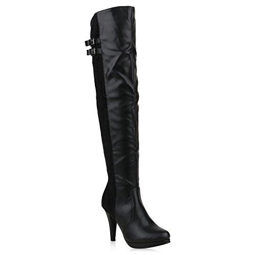 Damen Schuhe Overknees Stiefel Spitze Stiletto High Heels Leder-Optik 153353 Schwarz Black 36 Flandell