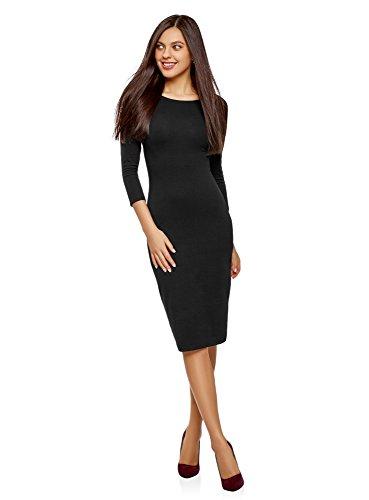 oodji Ultra Mujer Vestido Ajustado con Escote Barco, Negro, ES 36 / XS