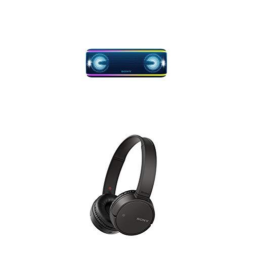 Sony SRS-XB41 Altoparlante Wireless Portatile, Extra Bass, Bluetooth, NFC, IP67, Batteria 24 ore, Blu + WH-CH500, Cuffie Wireless Bluetooth NFC con Durata della Batteria di 20 Ore, Nero