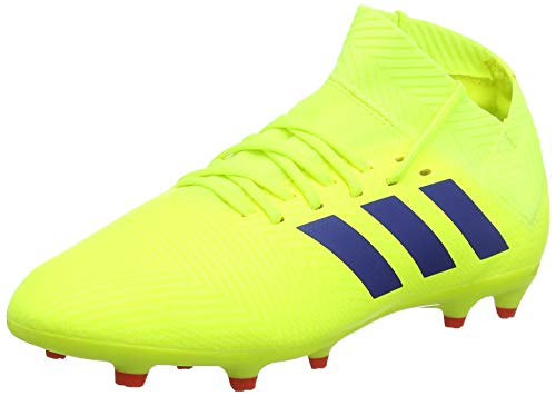Adidas Nemeziz 18.3 FG J, Zapatillas de Fútbol para Niños, Amarillo Solar Yellow/Football Blue/Active Red, 36.5 EU